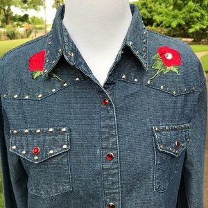 Wrangler Western Denim Cowgirl Shirt Roses Bling M
